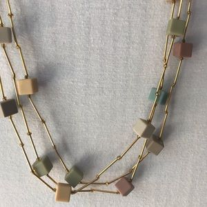 3 stranded square beaded necklace